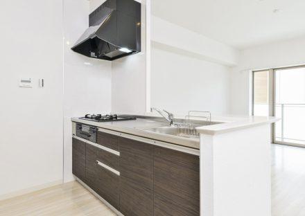 名古屋市名東区の2階建て賃貸マンションのガスコンロ3口付オープンキッチン
