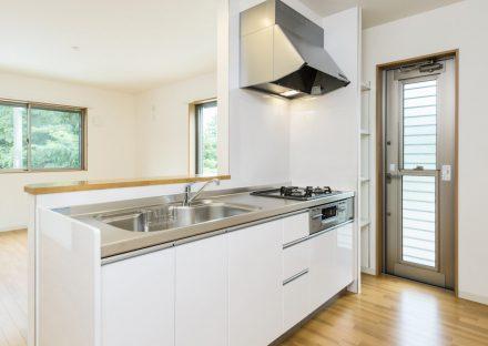 名古屋市天白区の戸建賃貸住宅の明るいオープンキッチン+棚+勝手口