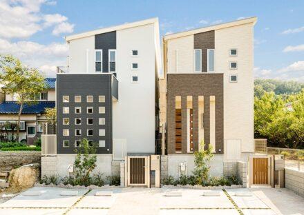 名古屋市天白区の賃貸戸建住宅のおしゃれな色違いの外観デザイン