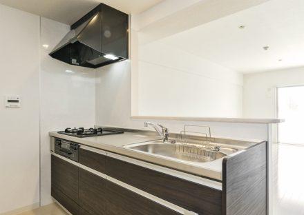 名古屋市天白区の3階建て賃貸マンションのモノトーンのおしゃれなキッチン