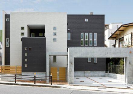 名古屋市東区の注文住宅のスクエアで構成されたモダンな外観デザイン