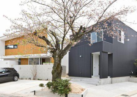 名古屋市守山区の注文住宅の以前施工させて頂いたお家とバランスよく配置、桜を中心にデザイン住宅が完成