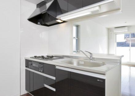 名古屋市天白区の2階建て賃貸マンションのモノトーンのかっこいいオープンキッチン
