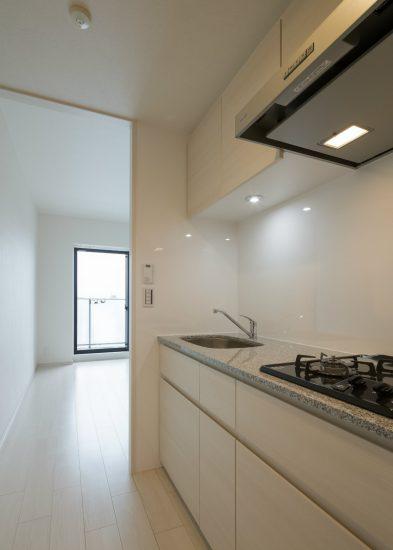 名古屋市中村区のワンルームマンションの3口ガスコンロ付のキッチン