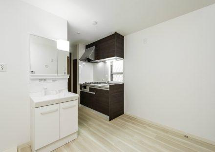 名古屋市緑区のロフト付きのメゾネット賃貸の洗面台&システムキッチンが付いた洋室