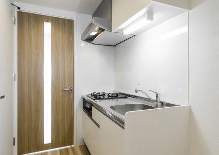 名古屋市千種区の新築賃貸マンションのドアのスリットからも光が当たるシステムキッチン