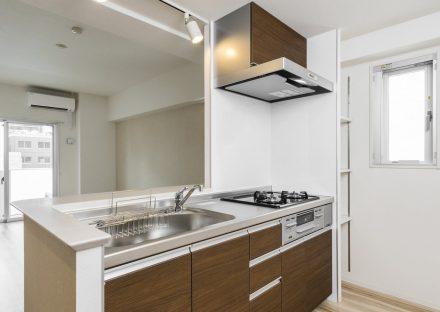 名古屋市中区の賃貸マンションのオープンキッチンの横には棚もあります。