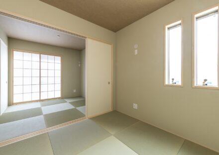 名古屋市南区の注文住宅の和モダンのシンプルで明るいデザインの和室