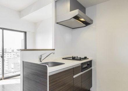 名古屋市西区の賃貸マンションの明るいコンパクトなシステムキッチン