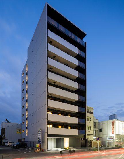 名古屋市北区のおしゃれにライトアップされた賃貸マンション