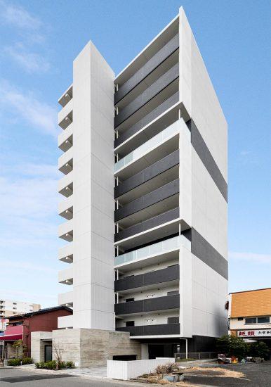 名古屋市中川区の12階建て1K賃貸マンションの外観デザインの新築写真