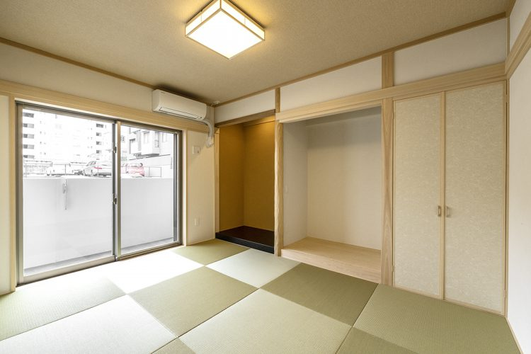 名古屋市名東区の賃貸マンション併用住宅のヘリなし畳の床の間付き和室