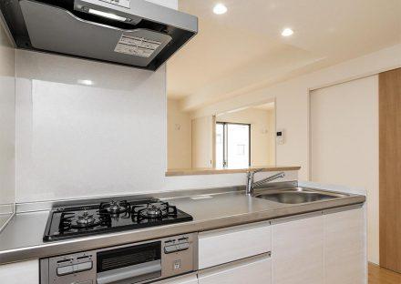 名古屋市名東区の3階建て賃貸マンションのグリル付きのオープンキッチン