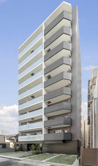 名古屋市中区のおしゃれなワンルームマンションのベランダの色がおしゃれな外観デザイン