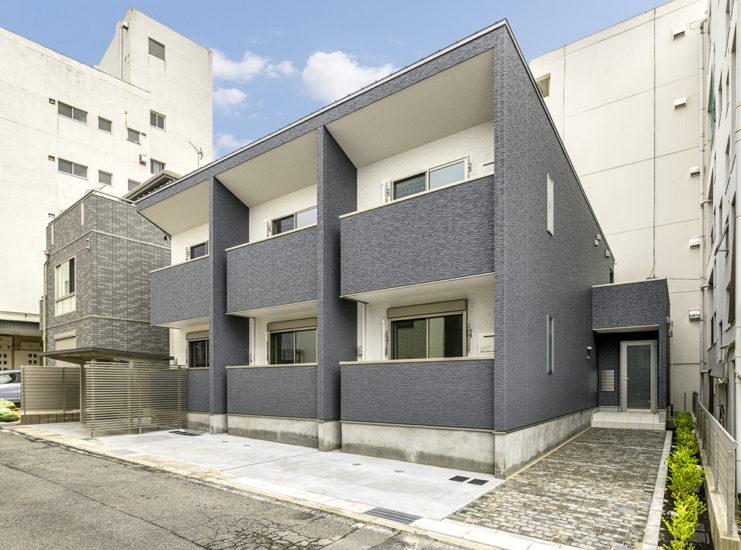 名古屋市名東区のモダンなワンルームアパート外観